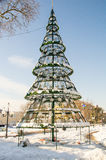Christmas tree in snowy Bulgarian Pomorie, winter 2017 Stock Photo
