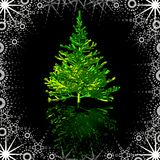 Christmas tree in snowy frame Stock Photography