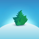 Christmas Tree on Snowy Hill Stock Image