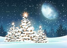Christmas tree in snowy landscape with big moon. In background, vector illustration, eps 10 with transparency royalty free illustration