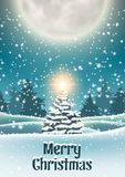 Christmas tree in snowy landscape with big moon. Christmas tree in snowy landscape with shinny star big moon in background, vector illustration, eps 10 with vector illustration