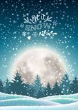 Christmas tree in snowy landscape with big moon. Christmas winter snowy landscape with big moon in background and text Let it snow, vector illustration, eps 10 stock illustration