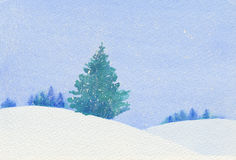 Christmas tree in a snowy landscape. Watercolor of a single Christmas tree in a snowy landscape Stock Images