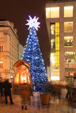Christmas Tree on snowy Wenceslas Square Stock Photo