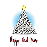 Christmas tree from soccer balls. Happy new year and Christmas tree from soccer balls on a background.  illustration Stock Images