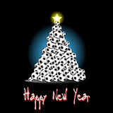 Christmas tree from soccer balls. Happy new year and Christmas tree from soccer balls on a background. Vector illustration Royalty Free Stock Photos