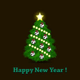 Christmas tree and soccer balls. Happy New Year. Christmas tree with ornaments in the form of soccer balls. Vector illustration Royalty Free Stock Photo