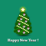 Christmas tree and soccer balls. Happy New Year. Christmas tree with ornaments in the form of soccer balls. Vector illustration Royalty Free Stock Photography