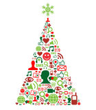 Christmas tree with social media icons Royalty Free Stock Images