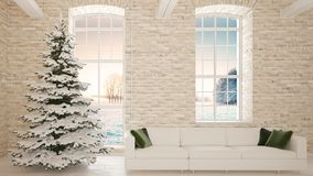 Christmas tree with sofa beside the brick wall. 3d rendering. Christmas tree in the snow. There is a room with bright sofa and green pillows. There are two Stock Photo