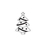 Christmas tree solid icon, decorations with star. Vector graphics, a filled pattern on a white background, eps 10 Stock Images