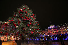 Christmas tree in Sommerset House. Christmas tree near the Sommerset House Ice Rink in London stock image