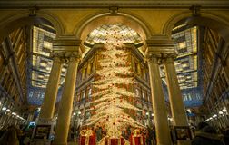 Christmas tree in the Sordi Gallery in Rome. Galleria Alberto Sordi, until 2003 Galleria Colonna, is a shopping arcade in Rome named after the actor Alberto Stock Image