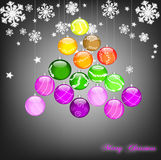 Christmas tree sparkling. Background with Christmas balls decorated Vector Illustration