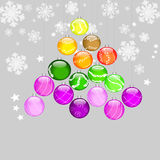 Christmas tree sparkling. Background with Christmas balls decorated Stock Photo