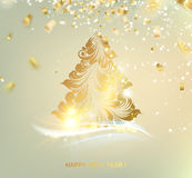 Christmas tree with sparks. And confetti over gray. Merry Christmas greeting card. Vector illustration Vector Illustration