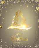 Christmas tree with sparks. And confetti over gray. Merry Christmas greeting card. Vector illustration Royalty Free Illustration