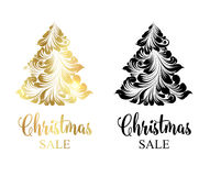 Christmas tree with sparks. Christmas sale tree with sparks over white background. Merry Christmas sale card. Vector illustration Vector Illustration