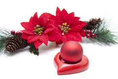 Christmas tree sphere on heart Stock Images
