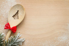 Christmas tree in spoon abstract food background Royalty Free Stock Photo