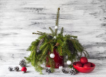 Christmas tree spruce green wooden stock photo