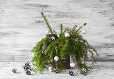 Christmas tree spruce green wooden Royalty Free Stock Photo