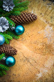 Christmas Tree Spruce Pine Wooden Christmas Balls Royalty Free Stock Photos
