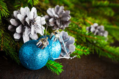 Christmas tree spruce pine wooden Christmas balls Stock Image