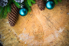 Christmas tree spruce pine wooden Christmas balls Royalty Free Stock Image