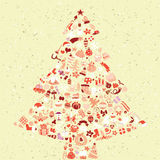 Christmas Tree Square Card. Made from collection of small christmas icons.  Objects are isolated in a group (only in  version). Illustration is in eps10  mode Royalty Free Stock Images