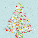 Christmas Tree Square Card. Made from collection of small christmas icons.  Objects are isolated in a group (only in  version). Illustration is in eps10  mode Stock Photography