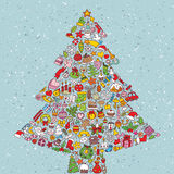 Christmas Tree Square. Card made from collection of small christmas icons.  Objects are isolated in a group (only in  version). Illustration is in eps10  mode Royalty Free Stock Photos