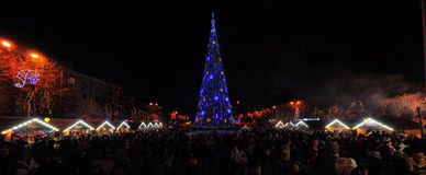 Christmas tree on the square Royalty Free Stock Photography