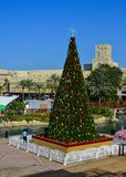 Christmas tree on square in Dubai, UAE stock photos