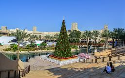 Christmas tree on square in Dubai, UAE stock photo
