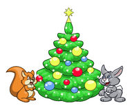 Christmas tree for squirrel and rabbit 2 Royalty Free Stock Photo