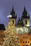 The Christmas tree with St. Mary of Tyn church in the backgroud Royalty Free Stock Images
