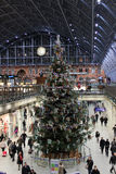 Christmas tree in St Pancras Station, London Stock Photo