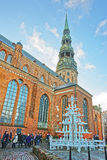 Christmas tree at St Peter church in the Old city of Riga in Lat Royalty Free Stock Image