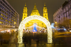 Christmas Tree in St. Stephen's Basilica Square, Budapest, Hunga Royalty Free Stock Image