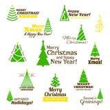 Christmas tree stamps set Stock Photos