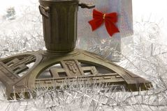 Christmas tree stand. A christmas tree stand with decorations Stock Photography