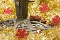 Christmas tree stand. A christmas tree stand with decorations Stock Photos
