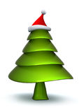 Christmas tree with stanta hat Royalty Free Stock Photo