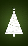 Christmas tree with star. Illustration of white Christmas tree with star, green background Royalty Free Stock Photo
