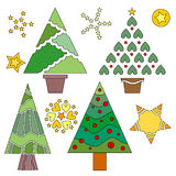 Christmas Tree and Star Collection Stock Photos