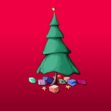 Christmas tree. With a star decoration and colorful gift packs Royalty Free Stock Photo