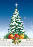 Christmas tree with a star. In Christmas decorations Royalty Free Stock Images