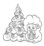 Christmas tree star garland  lamb coloring page Stock Images