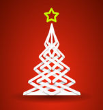 Christmas tree with star made paper strips Stock Photo